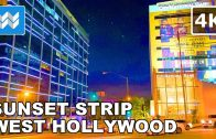 Walking tour of Sunset Strip in West Hollywood, California USA 🎧 【4K】